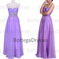 Strapless with Beaded Floor Length Chiffon Lilac Prom Dresses, Wedding Party Dresses, Lilac Formal Gown