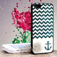 Chevron Anchor Blue Sparkly Hard cover plastic for iphone 4, iphone 5, samsung s3 i 9300, samsung s4 i 9500