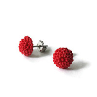 Mum Jewellery, Mum Earrings, Red Earrings, Red Jewellery, Red Jewelry, Chrysanthemum, Chrysanthemum Mums, Chrysanthemum Cabochon, Studs