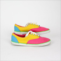 Neon canvas color block sneakers