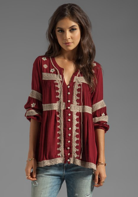 free people iris boho top in deep from revolve clothing tops. Black Bedroom Furniture Sets. Home Design Ideas