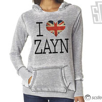 I Love Zayn Malik Hoodie - One Direction WOMENS Hooded Pullover Sweatshirt - 054
