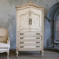 One of a Kind Vintage Armoire Petite Cream