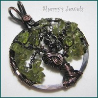 Tree of Life - Peridot - August - Hook Bail Copper Pendant Necklace | SherrysJewels - Jewelry on ArtFire