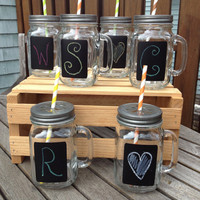 Set of 6 Mason Jar Drinking Mugs with Chalkboard Labels