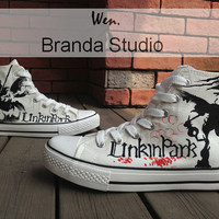 2013 New Linkin Park Studio Hand Painted Shoes High Top 49.99 Usd,Paint On Custom Converse Shoes Only 89Usd,Buy One Get One Phone Case Free