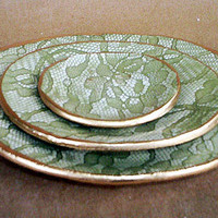 Ceramic Sage Green Lace Nesting Bowls by dgordon on Etsy