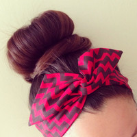 Funky Red Chevron Dolly Bow Headband by Eindre on Etsy
