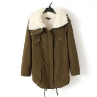 Promithi Womens Winter Parka Fur Collar Thick Padded Long Coat Outerwear Jacket:Amazon:Clothing