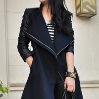 Leather Paneled Oversized Turn-Down Collar Coat - OASAP.com
