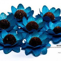Blue Wooden Sunflowers - 15 Pcs | AccentsandPetals - Floral on ArtFire