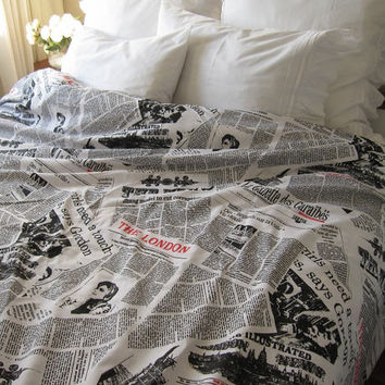 TWIN XL duvet cover Dorm Bedding - English Newspaper print at home - Book bedding - Black white cotton duvet cover