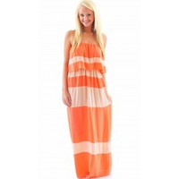 Brighter Than The Sun Maxi-Coral/Tan