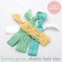 girlsluv.it - 5 in 1 set, lemongrass elastic ponytail holders