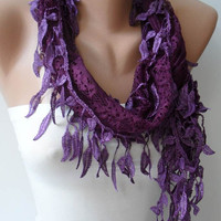 Dark Purple Lace Scarf with Dark Purple Trim Edge
