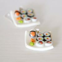 Sushi miniature earrings dollhouse food Polymer clay