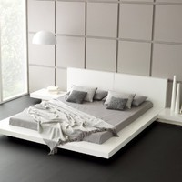 Fujian Modern Platform Bed + 2 Night Stands King (Glossy White).:Amazon:Home & Kitchen