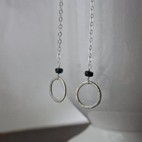 Hammered Circle Earrings - Sapphire Drop Earrings - Argentium Silver - Long Silver Earrings