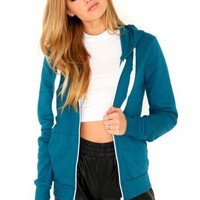 Missguided - Sheri Zip Through Hoodie In Teal