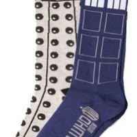 Doctor Who Tardis Dalek 2 Pack Socks,  size 9-13