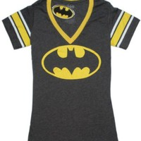 Batman Logo Deep V-Neck Juniors T-Shirt