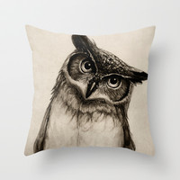 Owl Sketch Throw Pillow by Isaiah K. Stephens