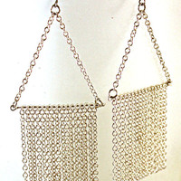 Silver Chain Fringe Sweep Earrings by SeventhChild on Etsy