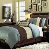"Chezmoi Collection 8 Pieces Blue Beige Brown Luxury Stripe Comforter (90""x92"") Bed-in-a-bag Set Queen Size Bedding:Amazon:Home & Kitchen"