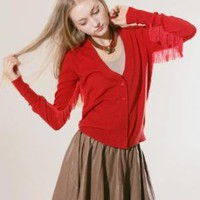 Fringe red cardigan [Fea4553] - $113 : Pixie Market, Fashion-Super-Market