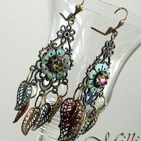 Long Chandelier Earrings with Patina Brass Leaves and Swarovski Crystal