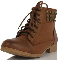 Brown Faux Leather Combat Lace-up Studded Low Heel Ankle Boots Freny