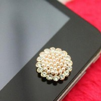 eBADA Brilliant Pearl Flower Iphone Crystal Home Return Keys Buttons Sticker For iPhone 4S iPhone 5 iPod Touch iPad Repair Fix Replace Replacement:Amazon:Cell Phones & Accessories