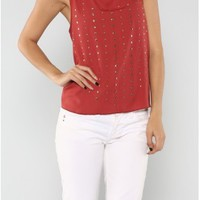 The Studded Rust Top