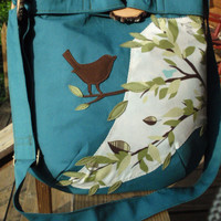 Bird on a Limb Teal Tote /Handbag/  Hipbag/ Diaper Bag/ Purse/  School Bag with 6 large pockets