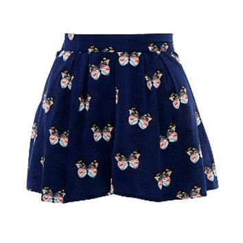 Madam Rage Navy Butterfly Print Shorts
