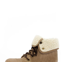 Dirty Laundry Raeven Taupe Convertible Lace-Up Ankle Boots
