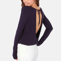 Rhythm My Scoop Long Sleeve Navy Blue Top