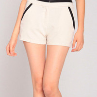 Black Trim Chiffon Shorts in Beige