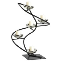 Iron Spiral Black and Chrome Candle Holder - #X7718 | LampsPlus.com