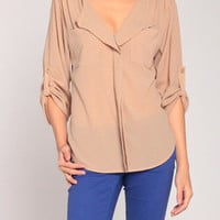 Gold Cuff Chiffon Blouse in Tan