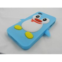 Amazon.com: Blue Penguin Silicone Soft Case Cover For iPhone 4 4G 4S: Cell Phones & Accessories