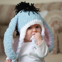 Eeyore Baby Earflap by ChildhoodLand on Etsy