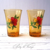 Vintage amber shot glasses with floral print by prettylilpieces