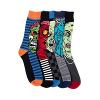 Mens Zombie Faces Crew Socks 5 Pack, Multi | Journeys Shoes
