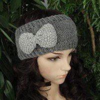 Dark Grey Head Band In Light Grey Bow by Hundredplus on Etsy