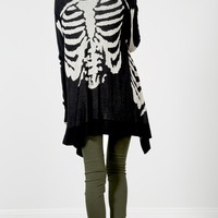 Black Long Skeleton Knit Cardigan |  MakeMeChic.com