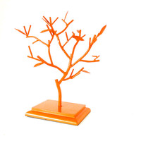 jewelry tree, upcycled home decor, organization, jewelry organizer, trees, orange