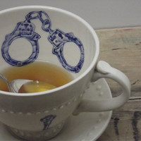 Handcuff Blue Tea Cup & Saucer by FaithAdamsCeramics on Etsy