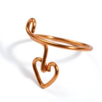 Tiny Heart Ring -- Small Heart Nail Ring