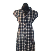 Black and white Checkered Red Striped Empire Waist Tunic Dress Womens Clothing Extra Large